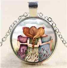 Three Sisters Best Friends Photo Cabochon Glass Tibet Silver Chain Necklace