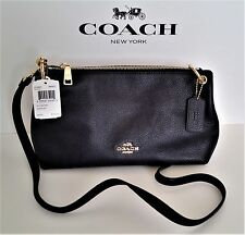 New COACH Pebbled Leather Shoulder Bag Midnight Blue F55661 & COACH Bag