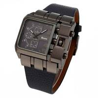Hot OULM Cool Men Style Casual Sports Military Leather Quartz Analog Wrist Watch
