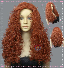 Merida Disney Princess Copper Red Halloween Wig (Kids) +Gift Wigs Hairnet