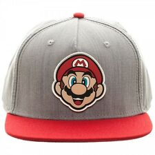 NINTENDO SUPER MARIO BROS BIG FACE SNAPBACK HAT CAP ADJUSTABLE GREY RED WORLD