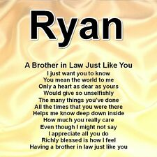Personalised Coaster - Brother in Law Poem & Name - Cream Silk Design + GIFT BOX