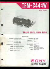 Original Factory Sony TFM-C444W Digital AM/FM Clock Radio Service Manual