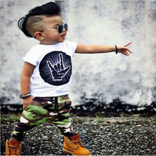 HOT Kids Toddler baby boys Girls T-shirt +Pants Infant Clothes Outfits 2pcs Sets