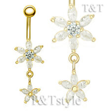 TTstyle 14K Gold GP Clear CZ Flower Dangle Belly Button Ring NEW