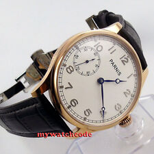 44mm parnis white dial blue hands 6497 hand winding mens wrist watch B220