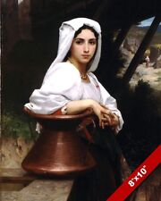 BEAUTIFUL ITALIAN WOMAN WATER CARRIER OIL PAINTING ART REAL CANVAS GICLEE PRINT