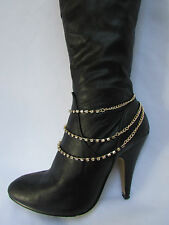 New Women Gold Chain Boot 1 Strap 3 Rows Rhinestones Strands Western Shoe Charm