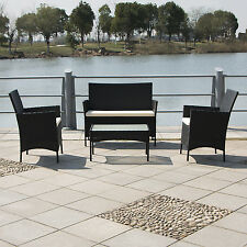 4 PCs Rattan Wicker Cushioned Sofa Table Seat Set Furniture Garden New
