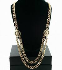 Collar De Cabeza De León oro distintivo doble cadena enlace Celebrity Fashion cubano 28""