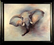 Splendid Large ca.1970 Elephant Oil Painting on Canvas with Frame Signed