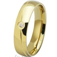 6MM Gold Plated Stainless Steel Ring Band CZ Stone SZ 6-13 Wedding Engagement