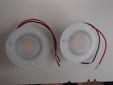 "*NEW* PAIR OF 2 DEHCO CEILING CAP PUCK LIGHTS 3"" FROSTED GLASS 12V MODEL:522009W"