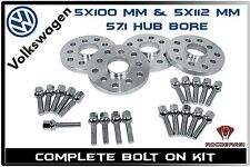 20mm Hub Centric Wheel Spacers 5x100 5x112 (57.1 H.B) - VW MK4 MK5 MKV GOLF GLI