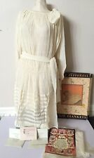 AUTHENTIC 1920's ANTIQUE CREAM SILK CHIFFON SHEER FLAPPER DRESS WEDDING GIFT LOT