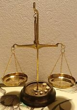 VINTAGE BALANCE SCALE  Mini Bronze 2 Plates With 5 weights timber base