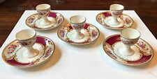 5 Vintage MYOTT Staffordshire THE BOUQUET Maroon Egg Cups & Saucers