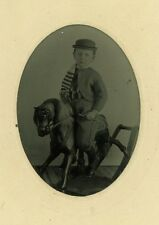 Boy Riding Toy Rocking Horse CDV Paper Frame Children 1800s Era Tintype Photo