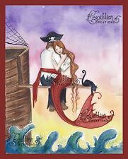 Pirated Heart Mermaid Pirate Print from Original Painting By Camille Grimshaw