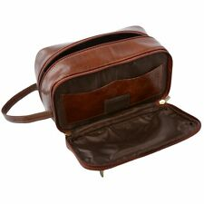 Ashwood Chelsea Authentic Genuine Leather Wash Toiletry Wet Bag / Pack Chestnut