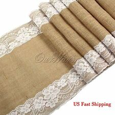 "Ourwarm 12"" X 108"" Burlap Lace Table Runner Natural Jute Rustic Wedding Decor"