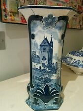Early blue and white Antique tall Delft vase 1890