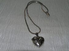 Estate 925 Marked Silver Cubed Herringbone Chain with Etched Puffy Heart Locket