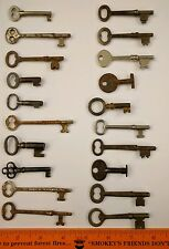 Vintage Skeleton Keys Lot 20 Antique Keys Mixed Shapes Sizes Door + Padlock