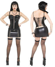 Sexy Lingerie 3 Pc WetLook PVC Play suit Corset skirt costume party dress 8-12