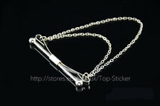 Mens Fashion Simple Collar Pin Stainless Steel Tie Clip Clasp Bar with Chain GB