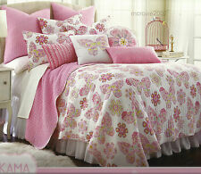 3pc BUTTERFLY FLOWER Pink FULL/QUEEN QUILT & 2 PILLOW SHAMS BED SET girls Cotton