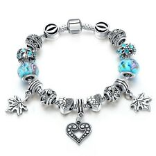 Silver Glass Beads Bracelet With Blue Crystal European Charms Fit Women H