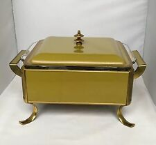 Mid Century Anchor Hocking Fire King Chafing Casserole Dish Avocado Green & Gold