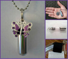 Silver CREMATION URN Necklace with Violet Butterfly - Includes Pouch & Fill Kit