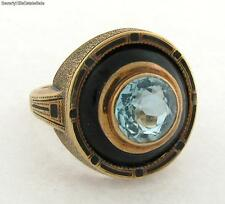 Antique Enamel Aqua Marine 14k Yellow Gold Ring