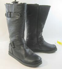 Blacks FAUX LEATHER  comfortable winter sexy mid-calf boots Size  7