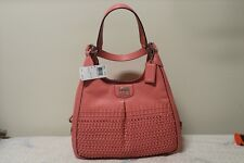 NWT COACH 23385 MADISON WOVEN LEATHER MAGGIE SHOULDER BAG PURSE SALMON PINK