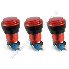 3 x 28mm Round 5v LED T10 Bulb Arcade Buttons & Microswitches (Red) - MAME