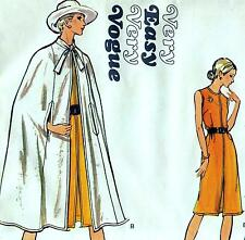 "EASY Vintage 70s DRESS & CAPE Sewing Pattern UNCUT Bust 34"" Sz 10 Evening RETRO"