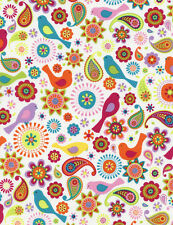 Fabric Birds 60's Flower Power Paisley on White Cotton by the 1/4 Yard