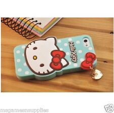 Blue Hello Kitty Bowtie Silicone Gel 3D Case with Charm for iPhone 6+ 6PLUS 5.5""