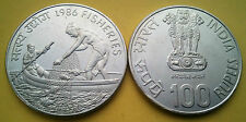 100 rs 1986 Fishery UNC Coin