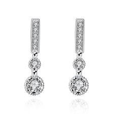 925Sterling Silver Jewelry Strip Shape Key Buckle Women Earrings Dangle EP756