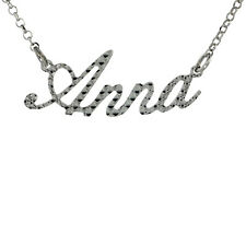 """Sterling Silver Name Necklace w/Diamond Cut Finish """"Anna"""" Pendant, Made in Italy"""