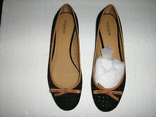 COACH DAISEY PERF SDE/VEG LEATHER SIZE 9.5 BLACK/GINGER BALLET FLATS