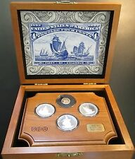 Fleet of Columbus 4 coin proof set! Limited Edition! Wooden tray and box!