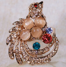 8CT Ruby London Blue Topaz Amethyst Peacock Gold Ring Adjustable Size 6-9 GR270