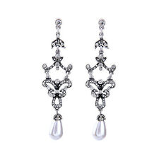 Water Drop Pendant Earrings Rhinestone Antique Silver Party Classic Jewelry