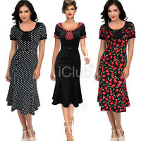 Womens 1950s 60s Vintage Swing Dresses Cocktail Floral Rockabilly Party Polka