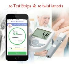 TOP Bluetooth 4.0 Glucose / Cholesterol 2in1 Meter monitor + APP for IOS Android
